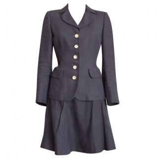 Salvatore Ferragamo marine blue skirt suit size S