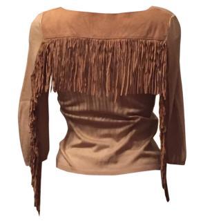 Blumarine vintage silk top with leather trim S