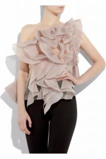 Valentino rose silk-organza top
