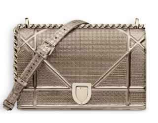 Diorama Bag in Champagne Metallic Calfskin With Micro-Cannage Motif