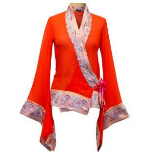 Etro Orange Kimono Top