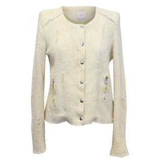 Iro Cotton Blend Pastel Yellow and White Jacket