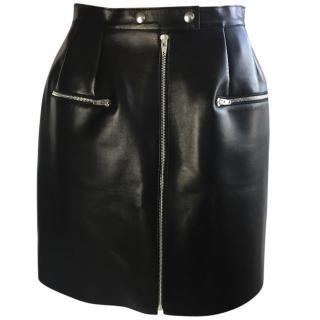 Celine Leather black Zip skirt
