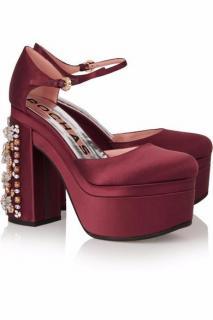 ROCHAS Crystal-embellished satin platform pumps