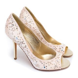 Gina Pink Satin Heels with Rhinestones