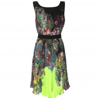 BCBG Max Azria Floral Pleated Dress
