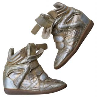 Isabel Marant Gold Leather Wedge Trainers