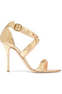Rupert Sanderson Tiffany embellished metallic leather sandals