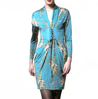 Roberto Cavalli Class Green Dress with Dragon Print