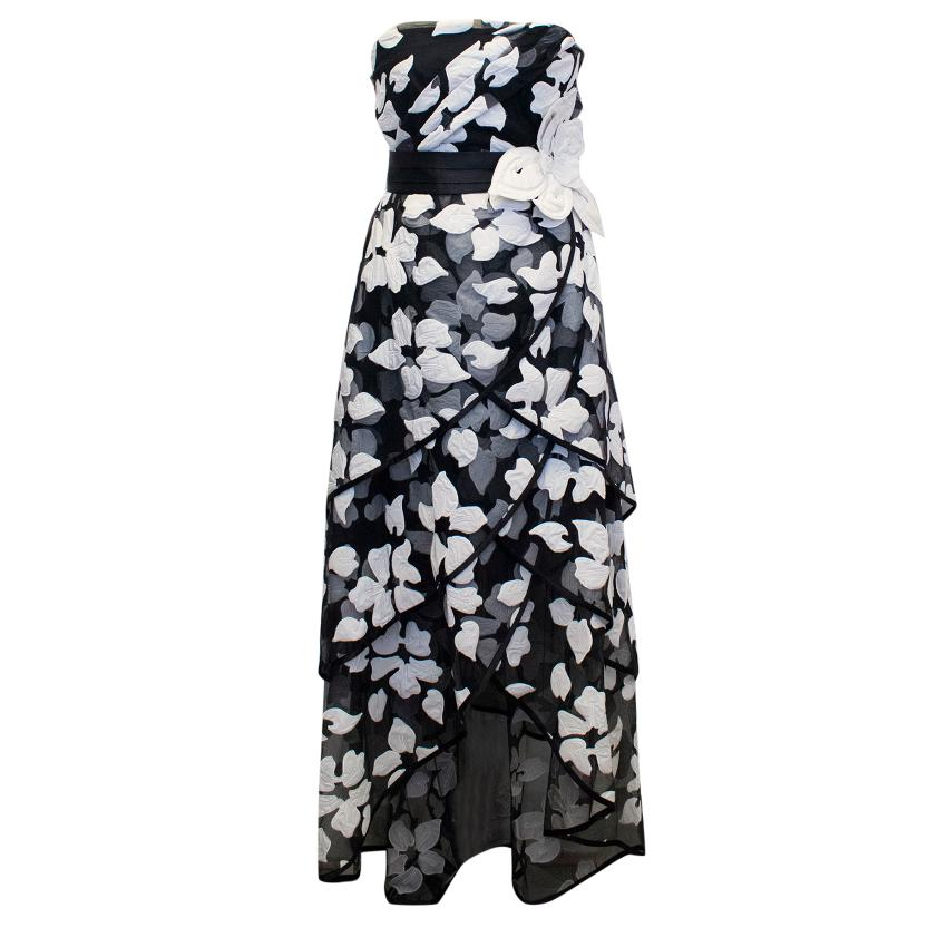 Marc Jacobs Black and White Gown with Applique Flowers