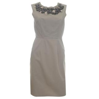Alberta Ferretti Cotton Embellished Neckline Dress