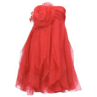 Marchesa Notte Rosette Organza Strapless Dress