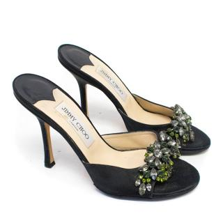 Jimmy Choo Heeled Black Sandals with Rhinestones
