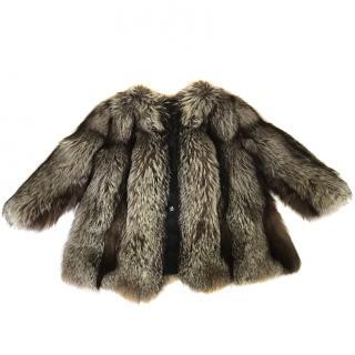 Silver Fox Fur Collarless Coat Size 12