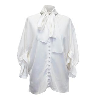Yves Saint Laurent Cream Silk Button Down Blouse