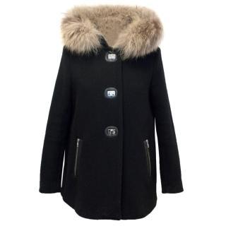 Sandro Black Racoon Fur Hood Coat