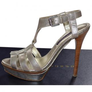 Ralph Lauren Collection runway silver leather shoes