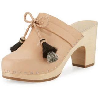 Loeffler Randall Hadley leather nude clogs with tassles