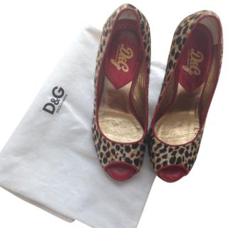 D&G Leopard Print Pony Hair Heels with Red Piping