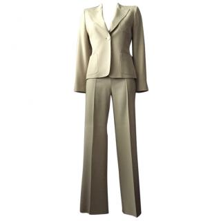Max Mara One button blazer and pant suit beige size S