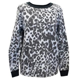 Sandro Black and White Cheetah Print Jumper