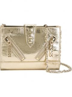 KENZO 'Kalifornia' Gold lambskin Leather Chain Wallet Bag NEW