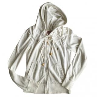 Juicy Couture White Velvet Zip Up Hoody