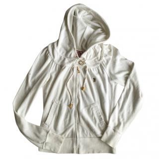 Juicy Couture White Velvet Zip Up Hoody