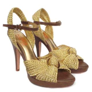 Kors Michael Kors gold braided heeled sandals