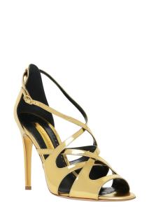 Rupert Sanderson Arlena Gold Leather High Heel Sandals