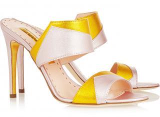 Rupert Sanderson Gyda Metallic Lilac/Gold Leather Sandals