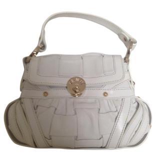 Fendi white leather pleated mini pochette