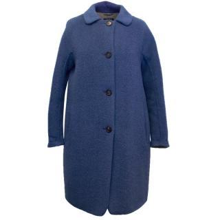 'S Max Mara Blue Wool-Blend Single-Breasted Coat