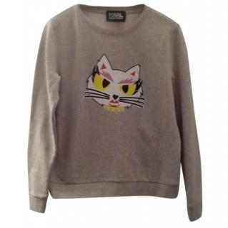 Karl Lagerfeld Grey Cat Sweatshirt