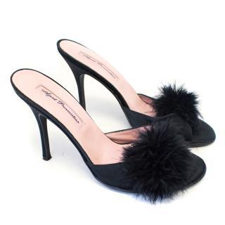 Agent Provocateur Black Heeled Marabou Sandals
