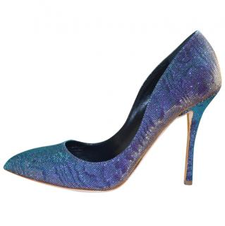 Rupert Sanderson Metallic purple/green high heel pumps