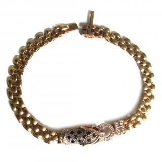 Diamond and Sapphire Panther Bracelet