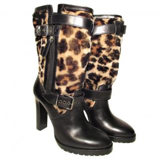 Burberry Brit Black Leather Shearling Boots, Animal Print