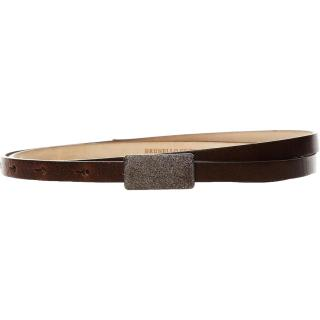 Brunello Cucinelli skinny brown leather belt