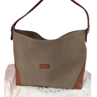 Aspinal Taupe and Tan Tote Bag