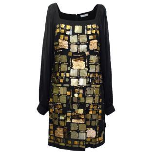 Emilio Pucci Black Silk Mini with Gold Embellishments