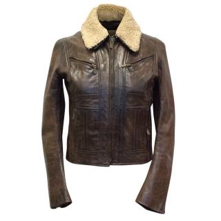 Belstaff Brown Shearling Leather Jacket