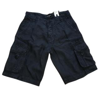 Emporio Armani Navy Combat Linen Shorts