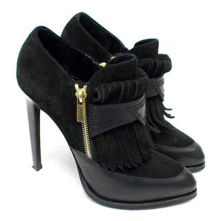 Emilio Pucci Black Suede and Leather Heeled Ankle Boots