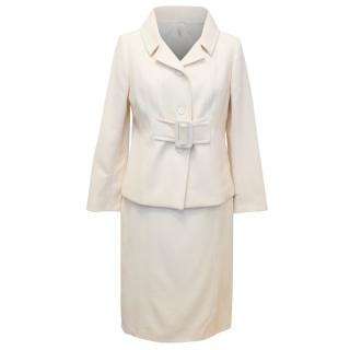 Paule Ka Wool Blend Cream Skirt Suit