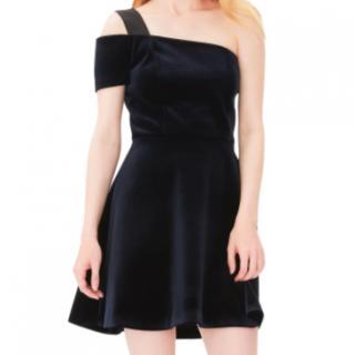 Sandro Ingalls One-Shoulder Velvet Dress - Marine