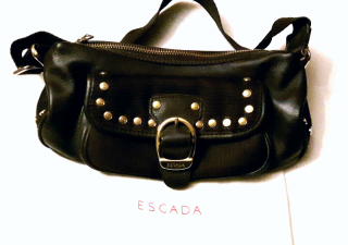 Escada Brown Handbag with Gold Studs