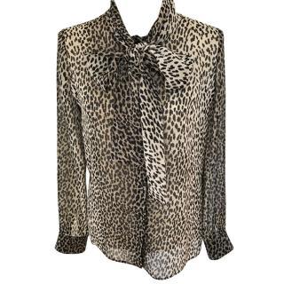 Saint Laurent animal silk blouse