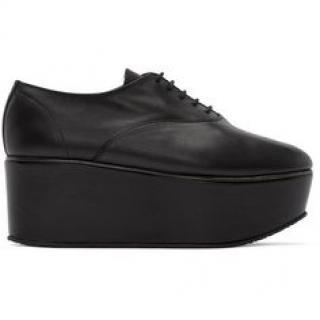 Repetto Black Leather Lace Up Platform shoes