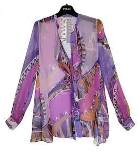 Emilio Pucci Iconic Niki Print Silk Chiffon Blouse